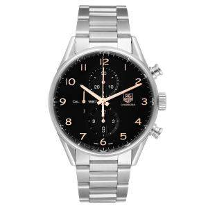 Tag Heuer Black Stainless Steel Carrera 1887 Chronograph CAR2014 Men's Wristwatch 43 MM