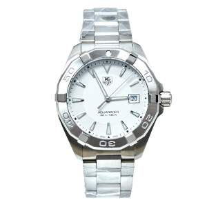 Tag Heuer White Brushed Stainless Steel Aquaracer WAY1111 Automatic Men's Wristwatch 41 MM