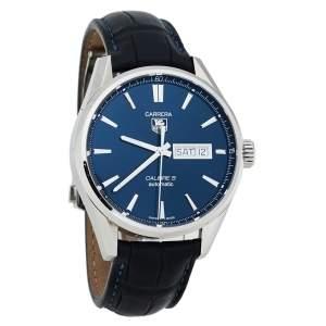 ساعة يد رجالية تاغ هيوير كاريرا كاليبر 5 WAR201E ستانلس ستيل زرقاء 41 مم