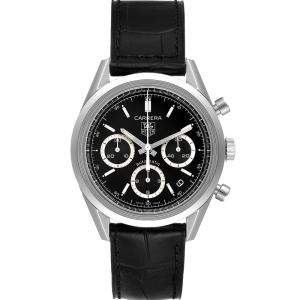 Tag Heuer Black Stainless Steel Carrera Chronograph CV2113 Mens Wristwatch 39MM