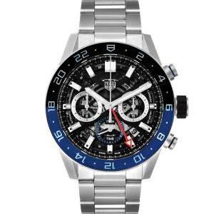 Tag Heuer Black Stainless Steel Carrera Batman Bezel Chronograph CBG2A1Z Men's Wristwatch 45MM