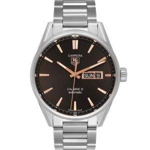 Tag Heuer Black Stainless Steel Carrera Calibre 5 Day Date WAR201D Men's Wristwatch