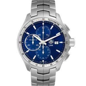 """ساعة يد رجالية تاغ هيوير """"لينك كرونوغراف سي ايه تي2015"""" ستانلس ستيل زرقاء 43 مم"""