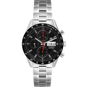 Tag Heuer Black Stainless Steel Carrera Chronograph CV201AH Men's Wristwatch 41 MM
