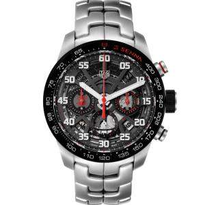 Tag Heuer Black Stainless Steel Carrera Senna Special Edition Chronograph CBG2013 Men's Wristwatch 43MM