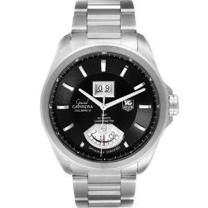 Tag Heuer Black Stainless Steel Grand Carrera GMT Chronograph WAV5111 Men's Wristwatch 42.5 MM