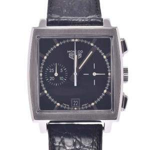 Tag Heuer Black Stainless Steel Monaco Chronograph CS2110.Fc8119 Automatic Men's Wristwatch 38 MM
