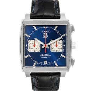 Tag Heuer Blue Stainless Steel Monaco Calibre 12 CAW2111 Men's Wristwatch 39 MM
