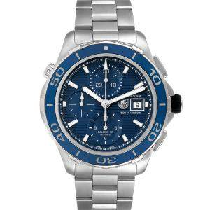 Tag Heuer Blue Stainless Steel Aquaracer CAK2112 Automatic Men's Wristwatch 43 MM