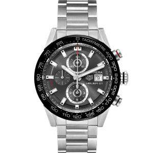 Tag Heuer Black Stainless Steel Carrera Chronograph Automatic CAR201W Men's Wristwatch 43 MM