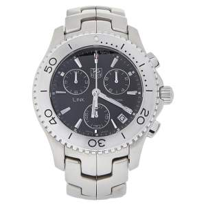 Tag Heuer Black Stainless Steel Chronograph Link CJ1110.BA0576 Men's Wristwatch 42 mm