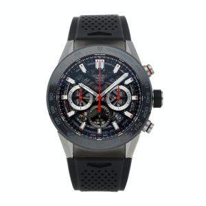 Tag Heuer Black Stainless Steel Carrera Calibre Heuer 02 CBG2A10.FT6168 Men's Wristwatch 45 MM