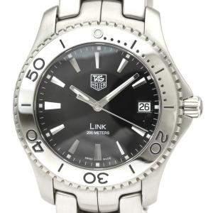 ساعة يد رجالية تاغ هيوير لينك كوارتز دبليو جي1110 ستانلس ستيل سوداء 39 مم