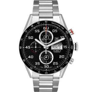 Tag Heuer Black Stainless Steel Carrera Chronograph CV2A1R Men's Wristwatch 43 MM