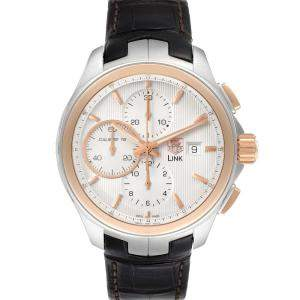 Tag Heuer Silver 18K Rose Gold And Stainless Steel Link Chronograph CAT2050 Men's Wristwatch 43 MM