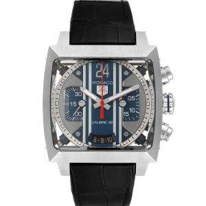 Tag Heuer Blue Stainless Steel Monaco Caliber Chronograph CAL5111 Men's Wristwatch 40.5 MM