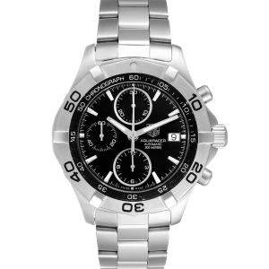 Tag Heuer Black Stainless Steel Aquaracer Chronograph CAF2110 Men's Wristwatch 41 MM
