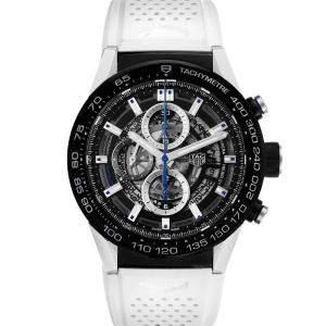 Tag Heuer Black Blacksteel Carrera Calibre Heuer 01 CAR2A1T Men's Wristwatch 45 MM