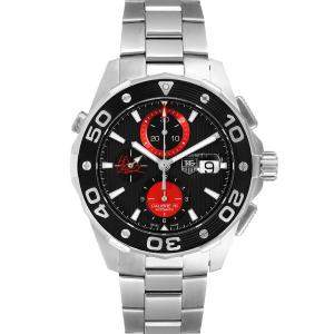 Tag Heuer Black Stainless Steel Aquaracer AIR-K Nishikori Japan Limited CAJ2113 Men's Wristwatch 44 MM