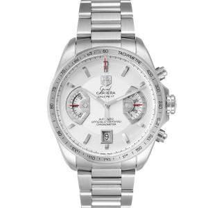 Tag Heuer White Stainless Steel Grand Carrera CAV511B Men's Wristwatch 43 MM