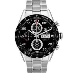 Tag Heuer Black Stainless Steel Carrera Day Date Chronograph CV2A10 Men's Wristwatch 43 MM