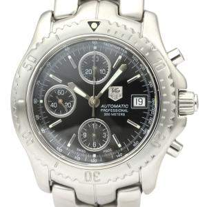 Tag Heuer Black Stainless Steel Link CT2111 Automatic Men's Wristwatch 42 MM