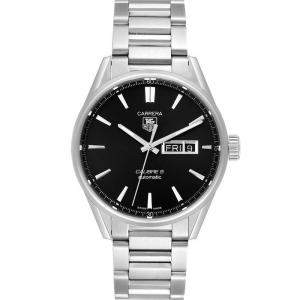 Tag Heuer Black Stainless Steel Carrera Calibre 5 Day Date WAR201A Men's Wristwatch 41 MM