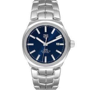 Tag Heuer Blue Stainless Steel Link Automatic WBC2112 Men's Wristwatch 41 MM