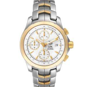 Tag Heuer Silver 18k Yellow Gold And Stainless Steel Link Chronograph CJF2150 Men's Wristwatch 42 MM