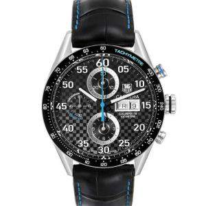 Tag Heuer Black Stainless Steel Carrera Day Date Chronograph CV2A16 Men's Wristwatch 43 MM