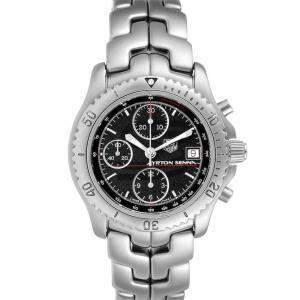 Tag Heuer Black Stainless Steel Link Chronograph CT2114 Men's Wristwatch 41 MM