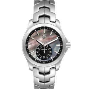 Tag Heuer Black MOP Stainless Steel Link Calibre 6 WJF211K Men's Wristwatch 39 MM