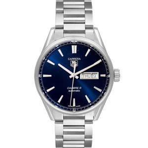 Tag Heuer Blue Stainless Steel Carrera Calibre 5 Day Date WAR201E Men's Wristwatch 41 MM