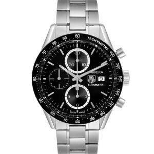 Tag Heuer Black Stainless Steel Carrera Tachymeter Chronograph CV2010 Men's Wristwatch 41 MM