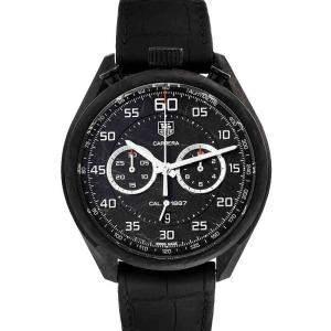 Tag Heuer Black Carbon Carrera Chronograph CAR2C90 Men's Wristwatch 45 MM
