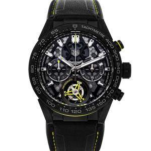 Tag Heuer Black PVD Coated Titanium Carrera Nanograph Tourbillon Limited Edition CAR5A8K.FT6172 Men's Wristwatch 45 MM