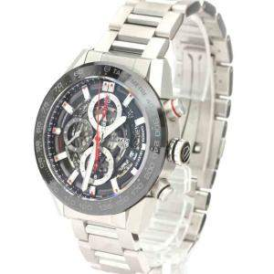 Tag Heuer Black Stainless Steel Carrera Caliber Heuer 01 Chronograph CAR201V Men's Wristwatch 43 MM