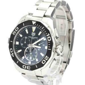 Tag Heuer Black Stainless Steel Aquaracer Chronograph 300M CAY111A Quartz Men's Wristwatch 43 MM