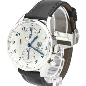 Tag Heuer White Stainless Steel Carrera Heritage Calibre 16 Automatic CAS2111 Men's Wristwatch 41 MM