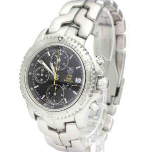 Tag Heuer Black Stainless Steel Link Chronograph Ayrton Senna Limited CT2115 Men's Wristwatch 40 MM