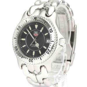 Tag Heuer Black Stainless Steel Sel Professional 200M WG1118 Quartz Men's Wristwatch 38 MM