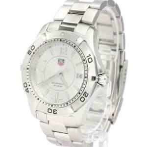 Tag Heuer Silver Stainless Steel Aquaracer WAF1112 Quartz Men's Wristwatch 39 MM