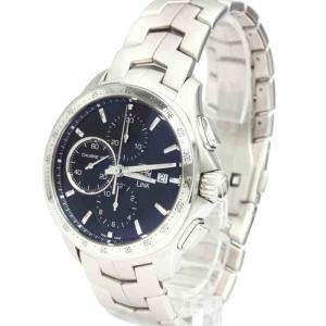 Tag Heuer Black Stainless Steel Link Calibre 16 Chronograph Automatic CAT2010 Men's Wristwatch 43 MM