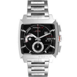 Tag Heuer Black Stainless Steel Monaco LS Chronograph CAL2110 Men's Wristwatch 40.5 x 40.5 MM