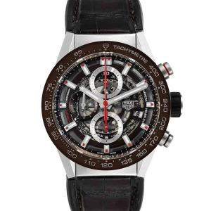 Tag Heuer Brown Stainless Steel Carrera Skeleton Chronograph CAR201U Men's Wristwatch 43 MM