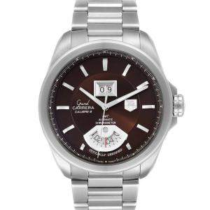 Tag Heuer Brown Stainless Steel Grand Carrera Grand Date GMT WAV5113 Men's Wristwatch 42.5 MM