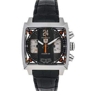 Tag Heuer Black Stainless Steel Monaco 24 Chronograph Calibre 36 CAL5112.FC6298 Men's Wristwatch 40.5 MM