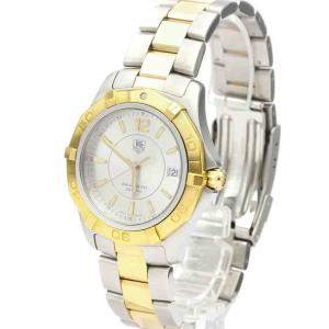 Tag Heuer Silver Gold Plated And Stainless Steel Aquaracer WAF1120 Quartz Men's Wristwatch 40 MM