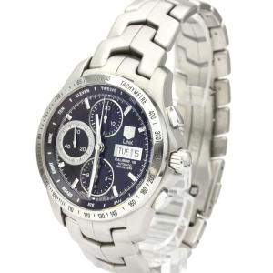 Tag Heuer Black Stainless Steel Link Calibre 16 Chronograph Day Date CJF211A Men's Wristwatch 42 MM
