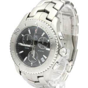 Tag Heuer Black Stainless Steel Link Chronograph CJ1110 Automatic Men's Wristwatch 42 MM